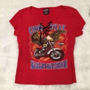 Harley Davidson String V Neck Graphic T-Shirt